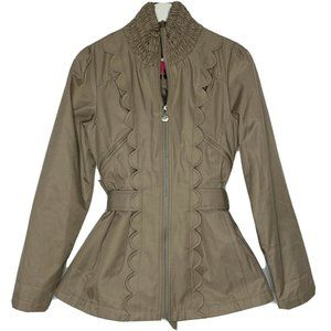 Betsey Johnson Tan Smocked Neck Zip Up Jacket S